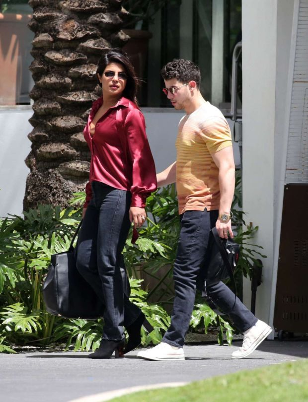 Priyanka Chopra And Nick Jonas Spotted Leaving Their Hotel In Miami