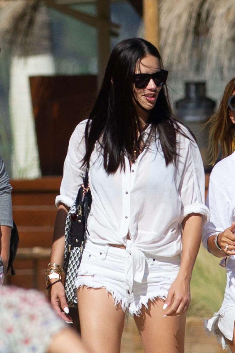 Adriana Lima Candids In Cut-Offs Out In Marbella