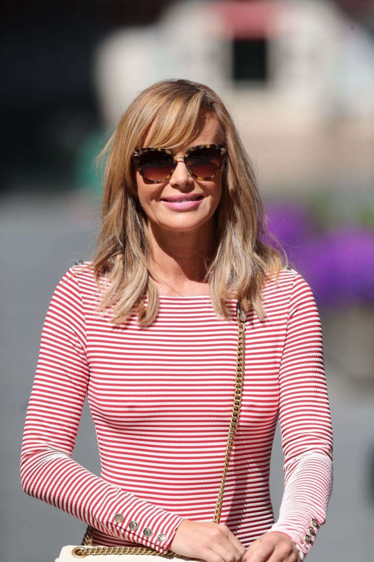 Amanda Holden Candids In A Striped Dress Leaving Heart Radio