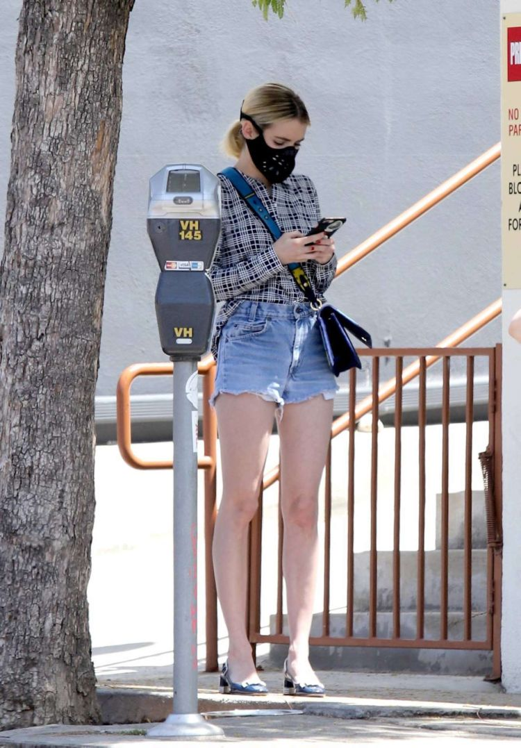 Emma Roberts Spotted In Denim Shorts Out For An Iced Coffee