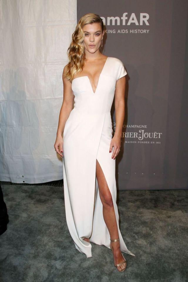 Nina Agdal Shines In White Dress At 2018 amfAR Gala