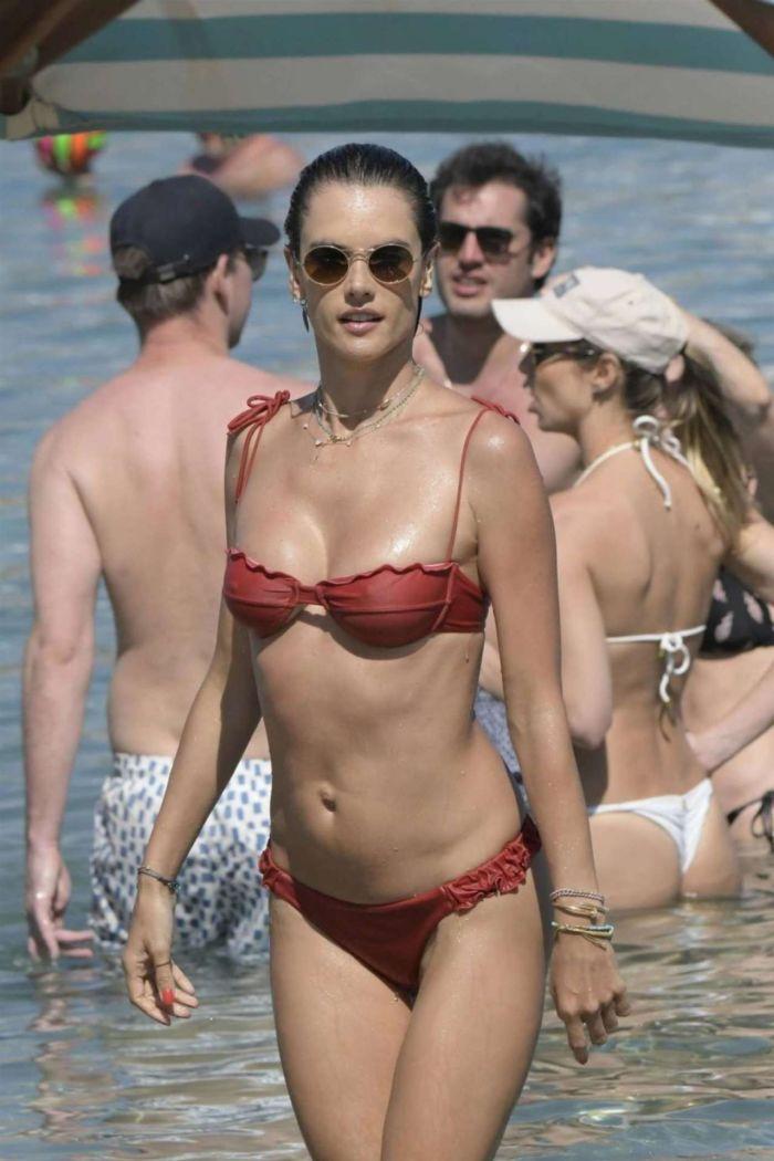 Alessandra Ambrosio At The Mykonos Beach In A Red Bikini