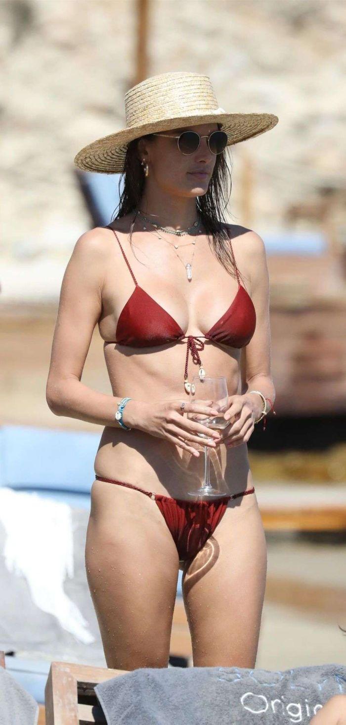 Alessandra Ambrosio Relaxing In A Bikini On A Beach In Mykonos