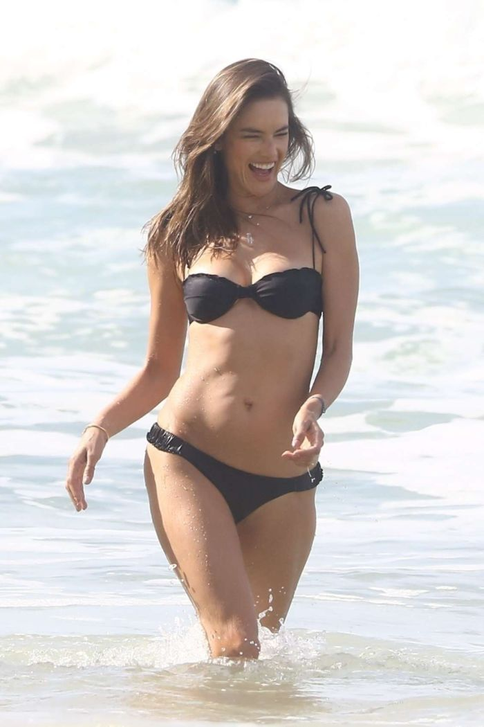 Alessandra Ambrosio Enjoying The Ocean Waves In Bikini On The Beach In Porto Alegre