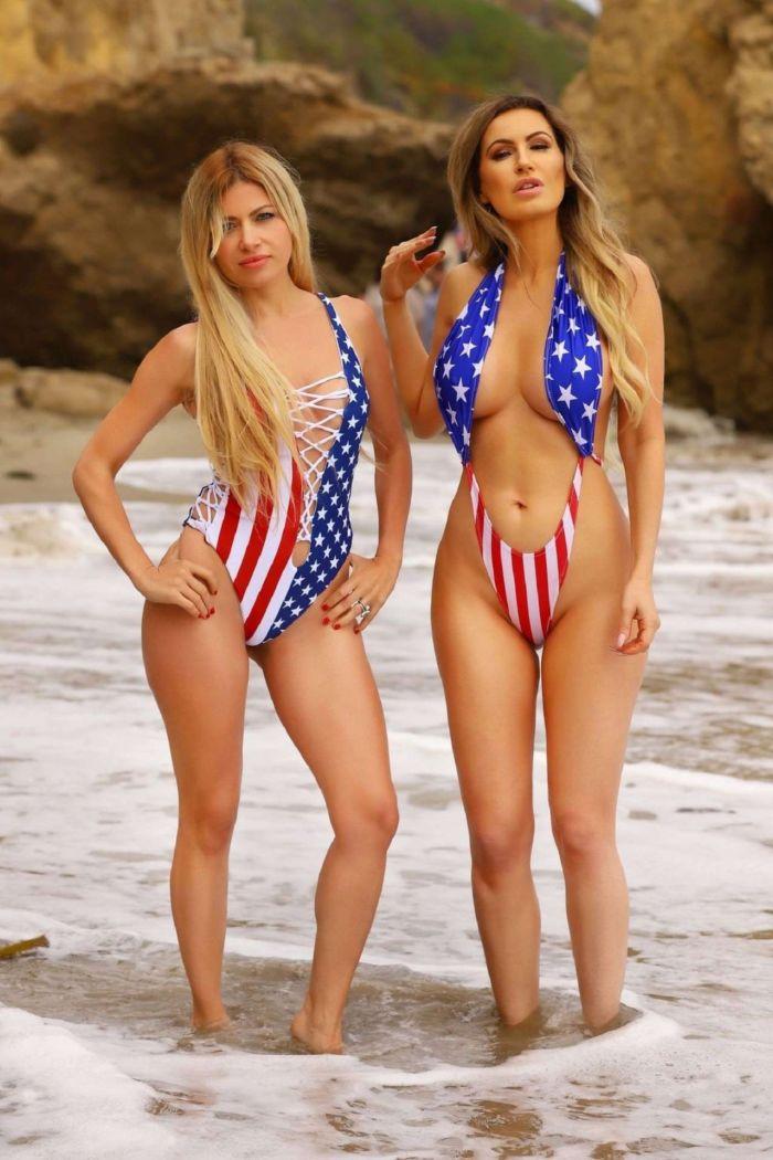 Ana Braga And Simona Papadopoulos In Bikinis On The Beach In Malibu