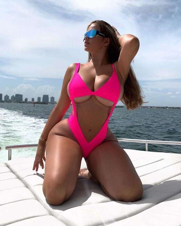 Anastasia Kvitko Poses For A Pink Swimsuit Photoshoot