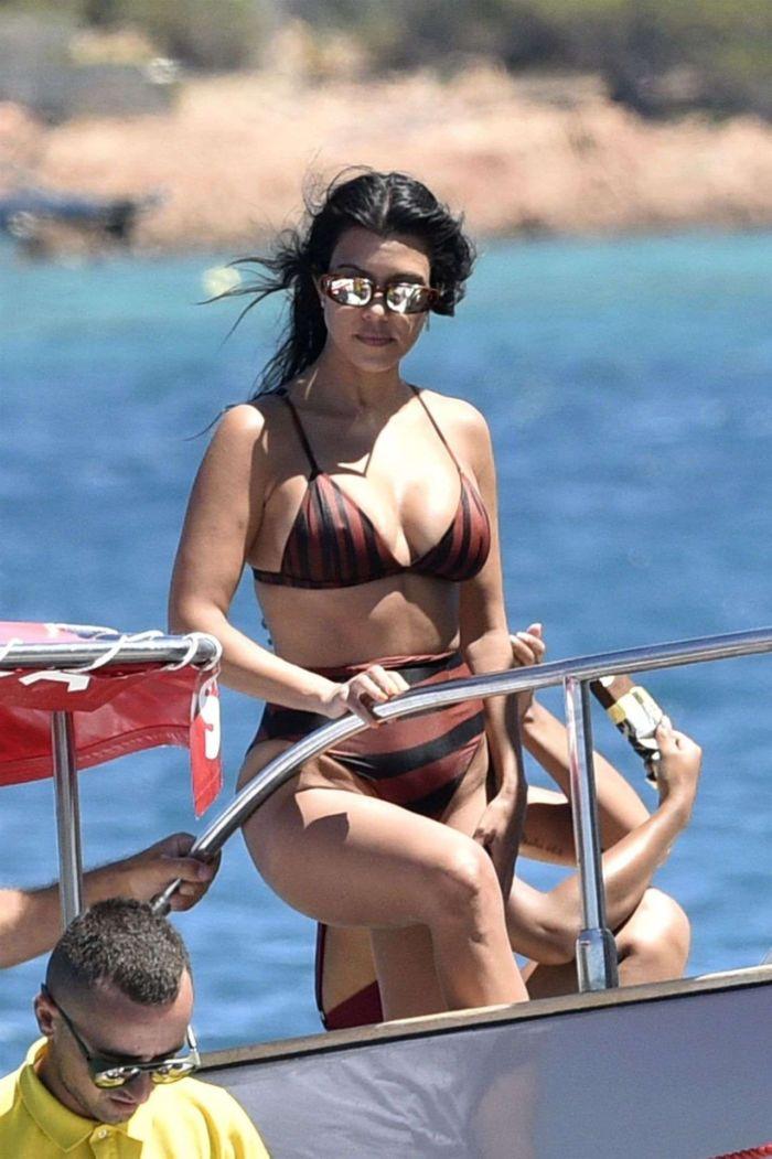 Kourtney Kardashian On A Yacht Off The Island Of Sardinia